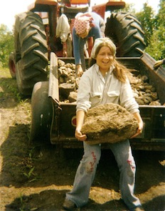 Julie Benning with boulder-sized rock