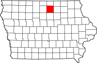 Map of Cerro Gordo County in Iowa