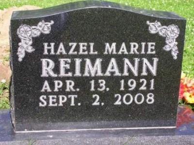 Hazel Reimann's grave stone