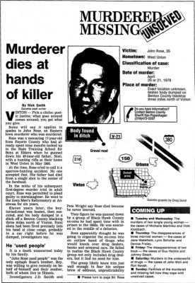 "Read Rick Smith's ""Murderer dies at hands of killer"" published in the Gazette March 16, 1992."