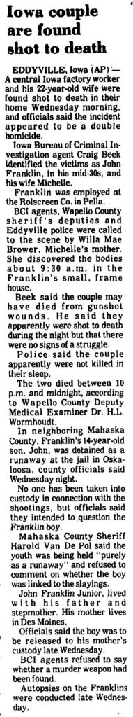 John And Michelle Franklin Double Homicide Iowa Cold Cases