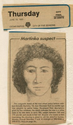 Michelle Martinko suspect sketch, June 19, 1980