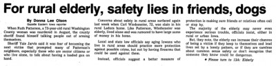 Courtesy the Gazette, Nov. 11, 1987 (Click to download in PDF format)