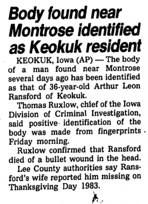 Courtesy Cedar Rapids Gazette, May 19, 1984
