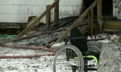 Cecil Gaddy's wheelchair outside home