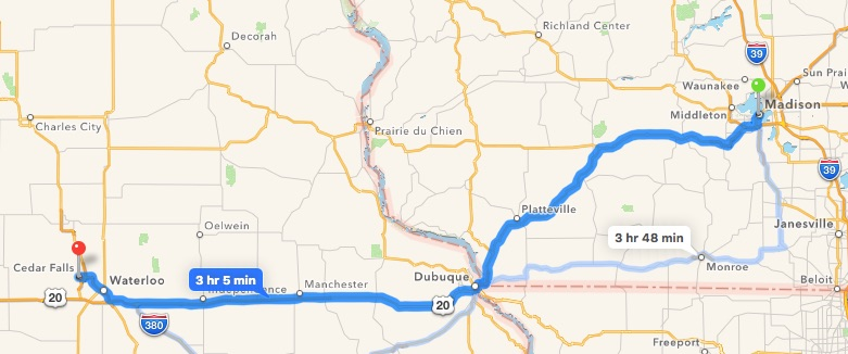 Clougherty's route from Madison, Wis. was never determined, though he was later spotted in Dubuque, Independence and Waterloo, Iowa, traveling westbound on Highway 20. (courtesy Google maps)