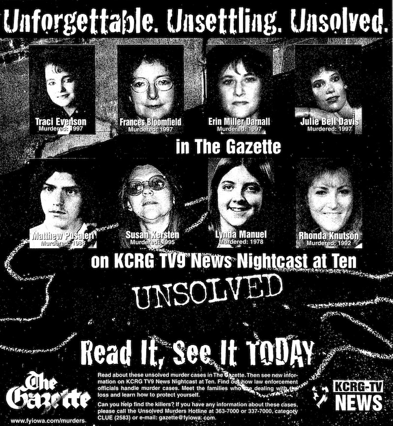 Cedar Rapids Gazette ad about cold cases