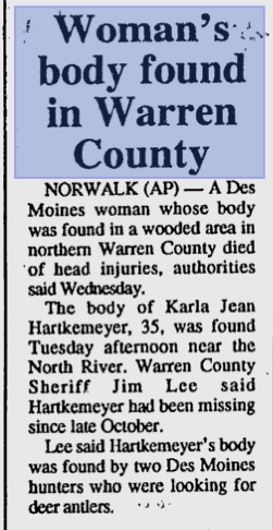 3-14-96-karla-hartkemeyer-SDR   Iowa Cold Cases