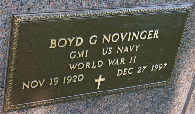 Boyd Novinger headstone inscription (Courtesy Julia Anderson)