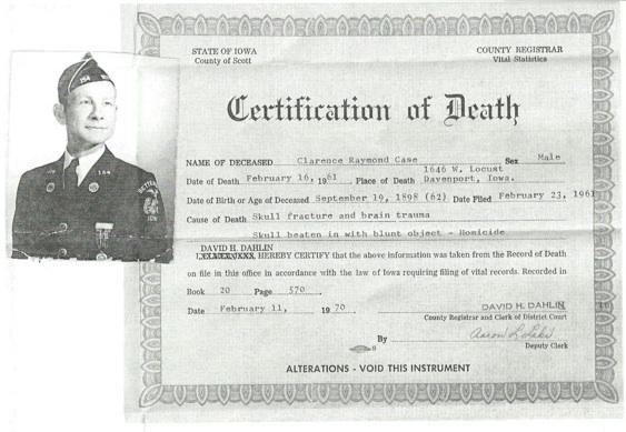 Clarence Case death certificate