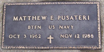Matthew Pusateri is buried at Saint John's Cemetery in Cedar Rapids. (Courtesy photo Ken Wright, findagrave.com)