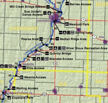 The Washta Access is shown (Courtesy Iowa DNR)