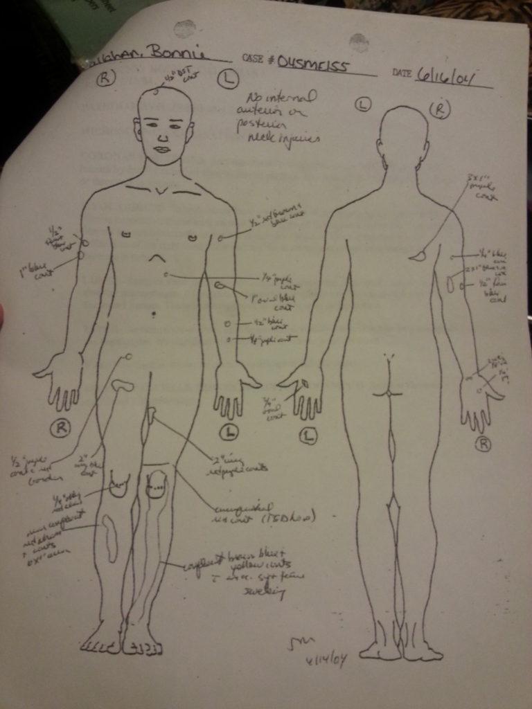 Bonnie Callahan autopsy sketch