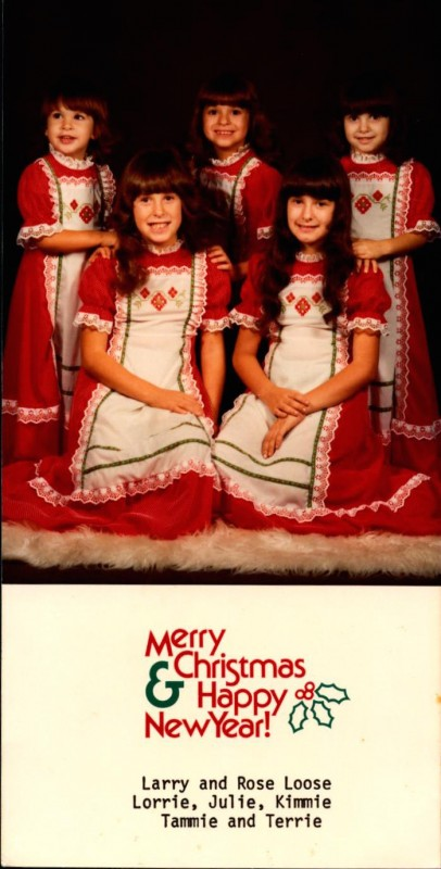 Kim Loose and sisters, Christmas card