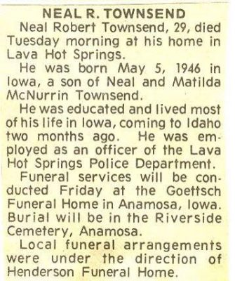 Neal Townsend obituary