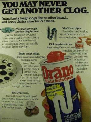 Drano ad from 1978