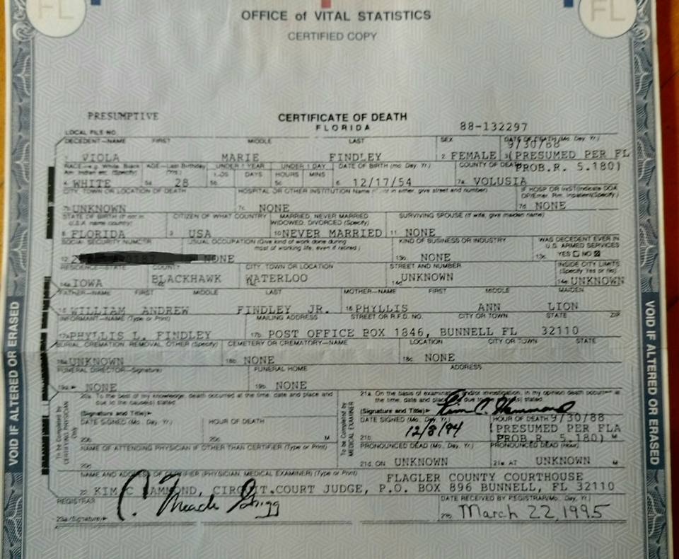 Viola Findley's Presumptive Certificate of Death