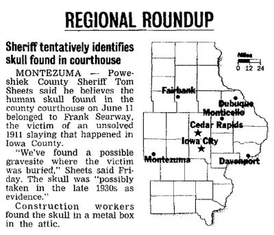 Gazette map of skull found at courthouse