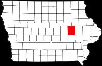 Iowa map showing Benton County