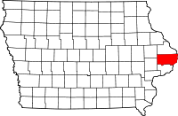 Map of Iowa showing Clinton County