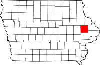 Iowa map showing Jones County