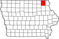 Map of Winneshiek County in Iowa